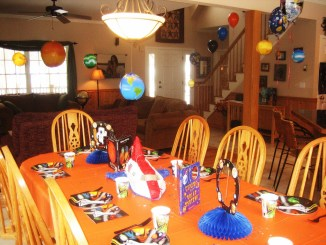 Space birthday party table decoration theme
