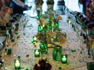 Long Wedding Table Decoration With Green Accent
