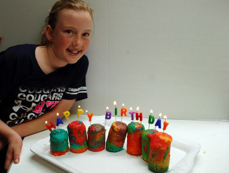 Rainbow Birthday Cake Baking