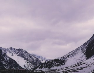 Snowy mountains in the Andes in Chile