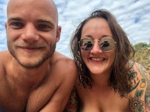 Selfie on a nudist beach