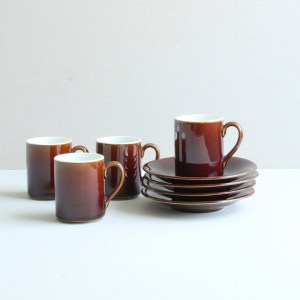 vintage kop en schotel bruin porselein