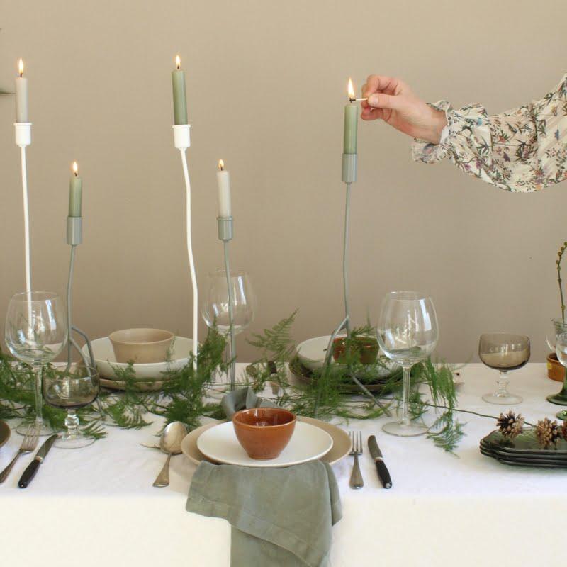 een groene kersttafel