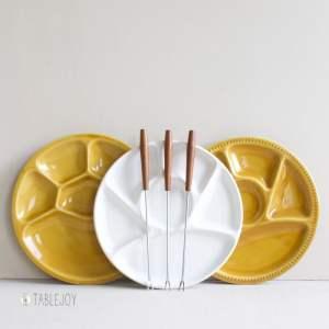 vintage fondueborden wit en geel