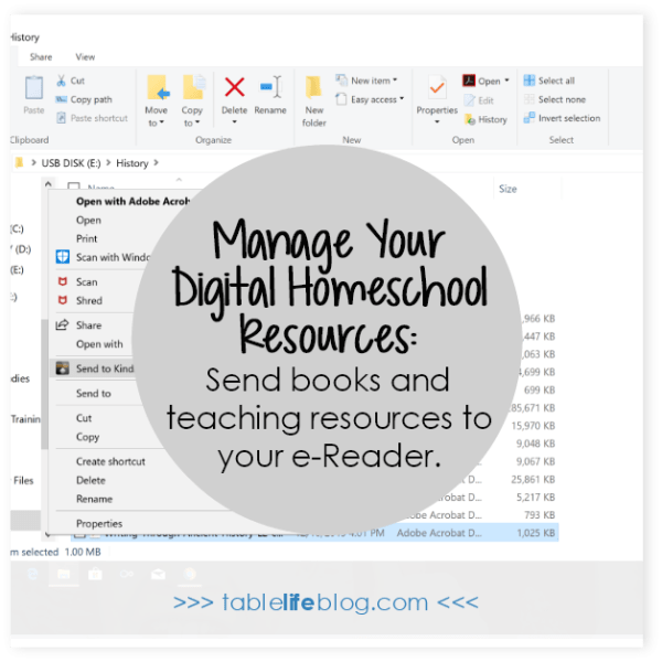 7 Practical Tips for Organizing Your Digital Homeschool Resources - Send to e-reader