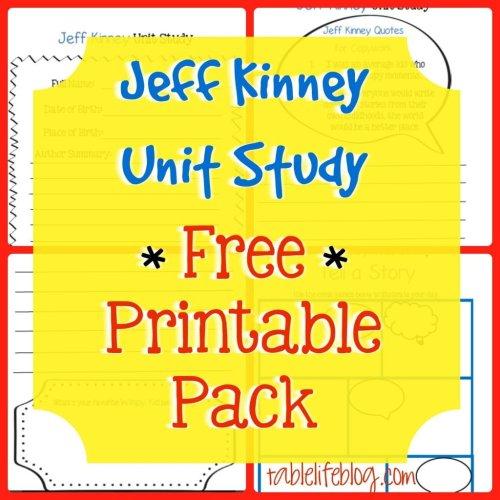 Jeff Kinney Unit Study - Free Printable Pack