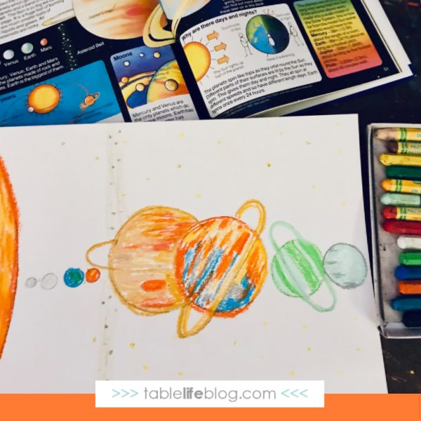 Solar System Art for Kids ~ Step 2: Color in planets and sun with oil pastels