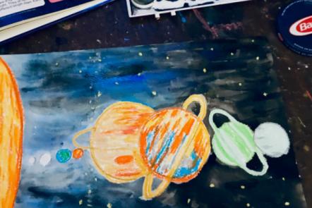 Watercolor Resist Solar System Art for Kids