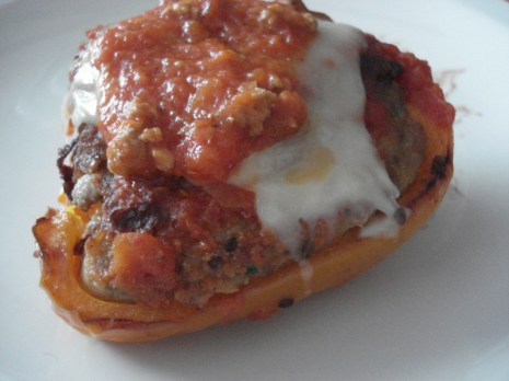 Stuffed Peppers with Homemade Sauce on Top