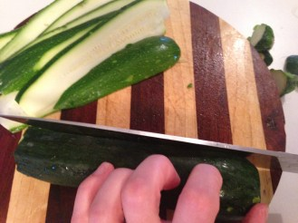 Slice the zucchini as evenly as possible