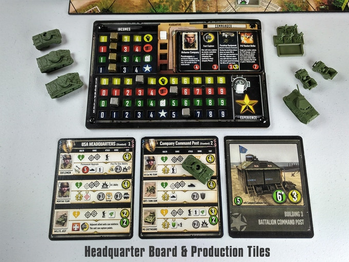 An in-game image showing the setup of a USA player within the Company of Heroes Board Game.