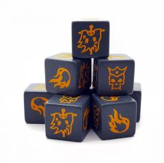 Grey Saga Age of Magic Dice with Orange Symbols: A banner, a fire and a crowned skull.