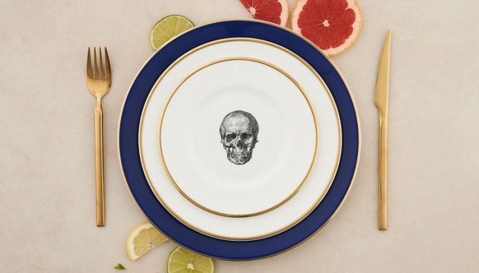 Melody Rose, Cobalt-Blue Skull Layered Plates