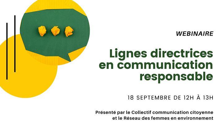 Webinaire: Lignes directrices en communication responsable @ Réseau des femmes en environnement | Montreal | QC | Canada