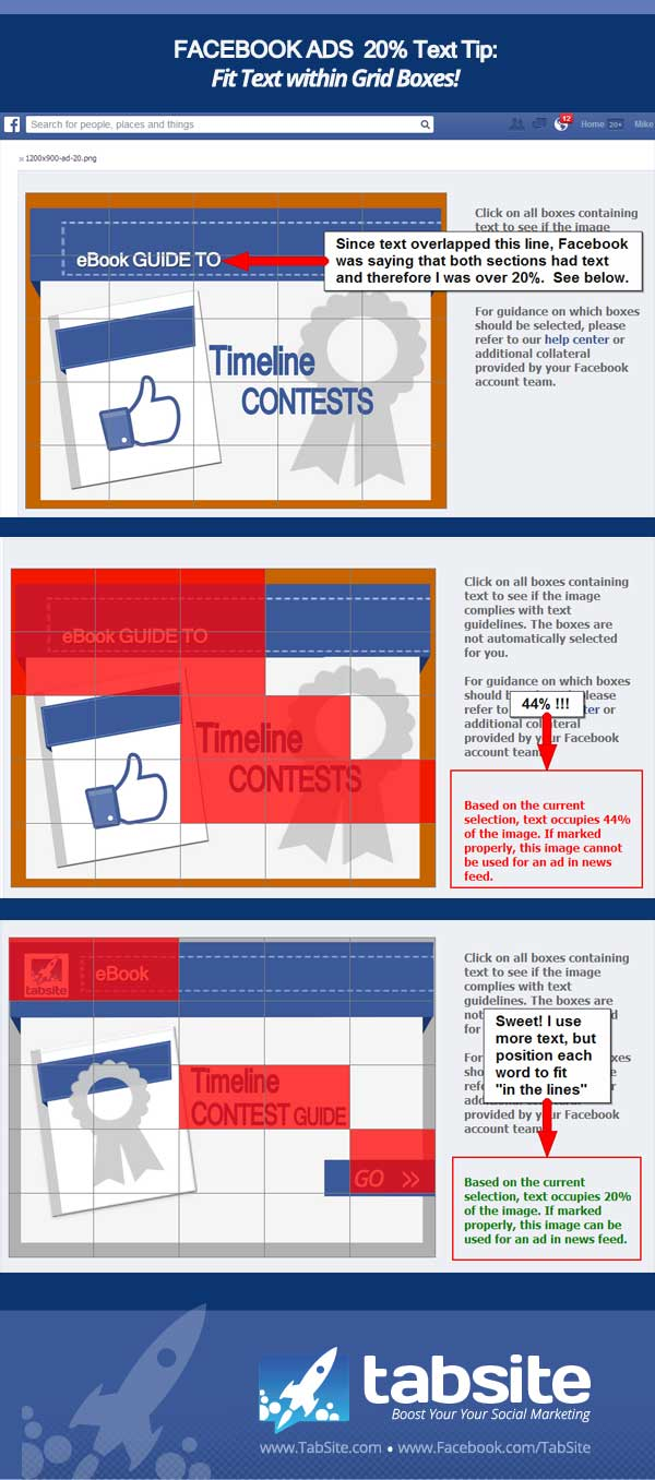 Facebook Ad 20 percent tip - make your text fit and not overlap grid lines!