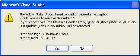 Tabs Studio add-in failed to load with error 80131417