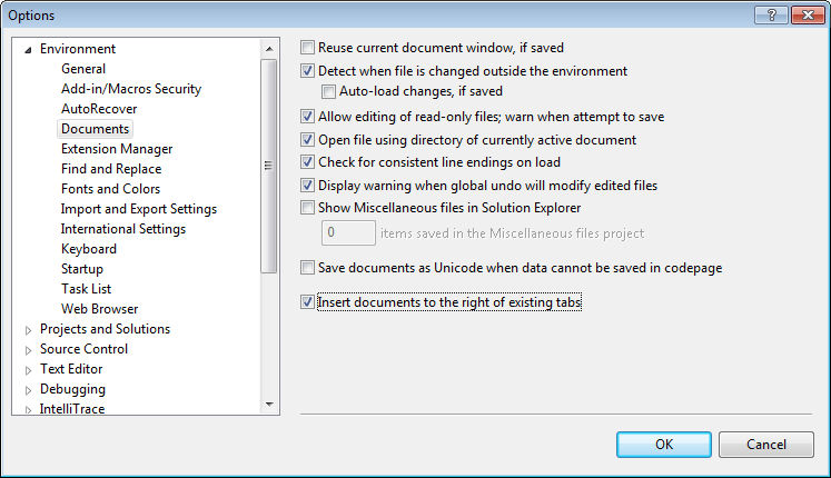 Insert documents to the right option