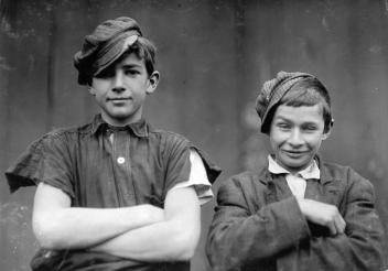 Two of the boys on night shift in the More-Jones Glass Co., in Bridgeton, New Jersey, in November of 1909.