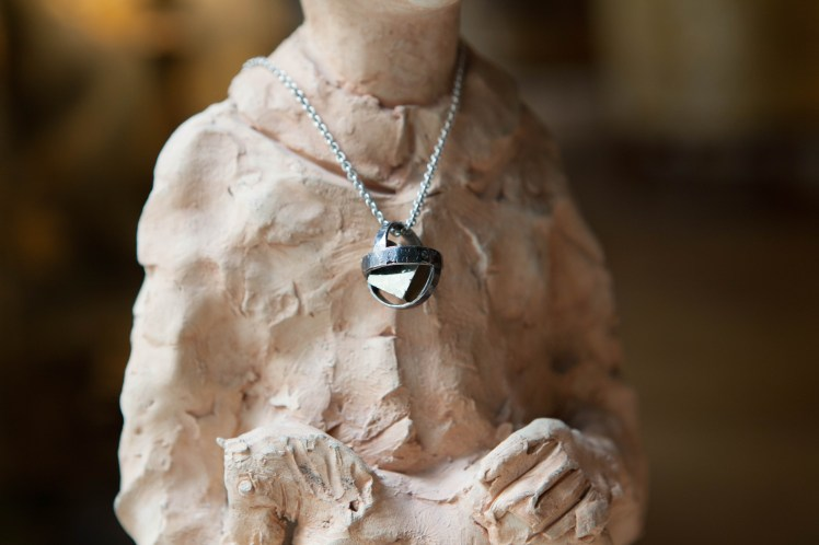 N301 - Sphere pyrite necklace, Silver