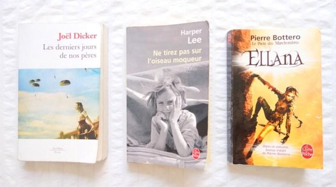 Mes lectures 8 - Les derniers jours de nos pères (Joel Dicker), Ne tirez pas sur l'oiseau moqueur (Harper Lee), Ellana, le pacte des marchombres (Pierre Bottero)