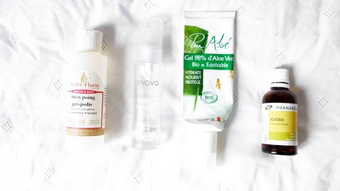 Mon avis sur shampoing propolis Ballot Flurin, Aloe Pur gel d'aloe vera, Oleo Silk Denovo et Huile de jojoba Pranarom