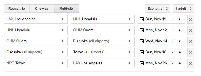 Island Hopper - Google Flights itinerary