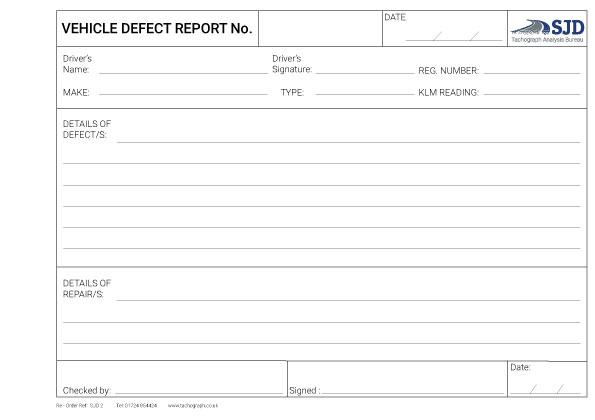 3 Part Defect Reporting Pad Sjd 2 Sjd Computers Limited