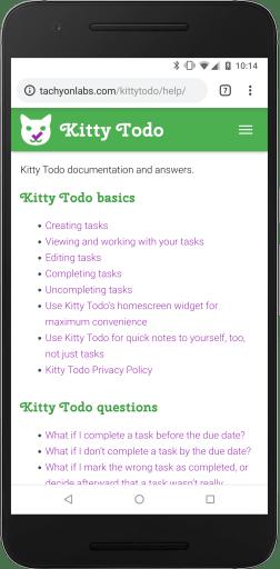 Kitty Todo web site help page screenshot