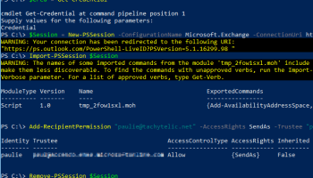 Image showing Powershell Window adding send as permissions on an Office 365 account