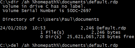 Image showing correct command line to delete default.rdp from users home directory