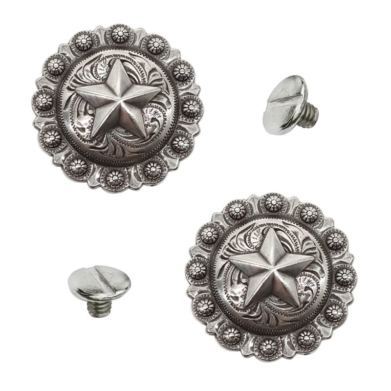 """Western Floral Star Berry Square Concho 1/"""" Old Silver"""