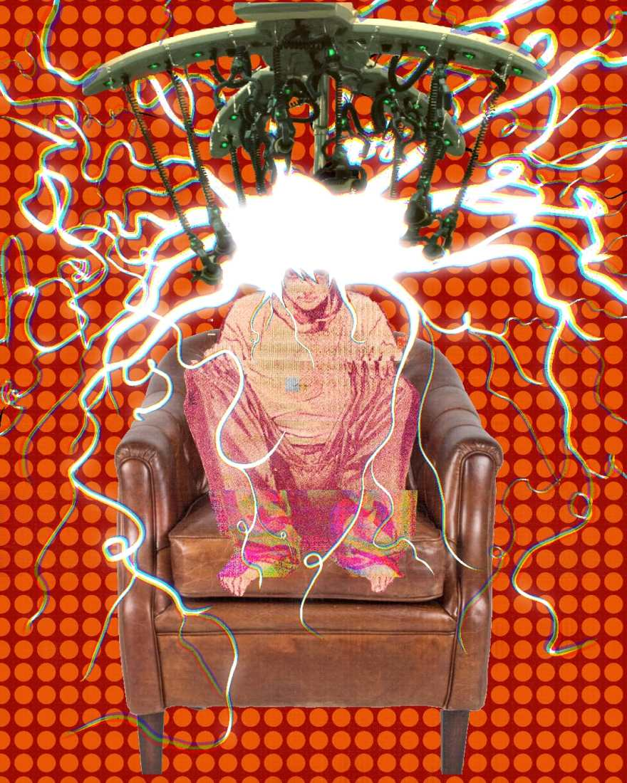 a figure of Death Note character L sitting in a brown leather chair getting a digital perm set against a red background with rows of orange circles. L's hair looks like lightning under the perm machine's tentacly contraptions.
