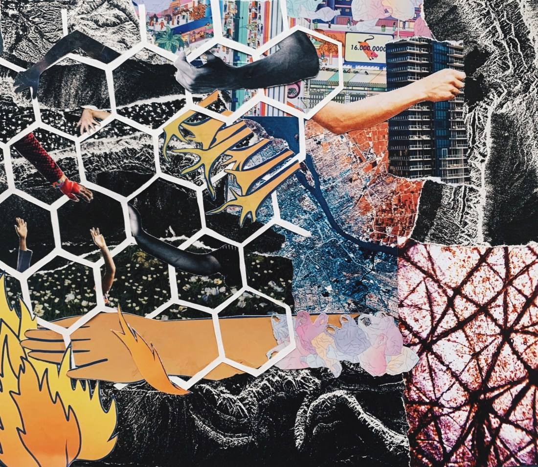 a textured background comprised of images of topographies and landscapes from the macro level of cityscapes to micro images of nerve systems. a papercut basic hive tessellation is superimposed on the left side of the  image with various human arms snaking in and out and amongst the lines. There is a large hand stretching across the lower third of the image toward a flame at the bottom right.