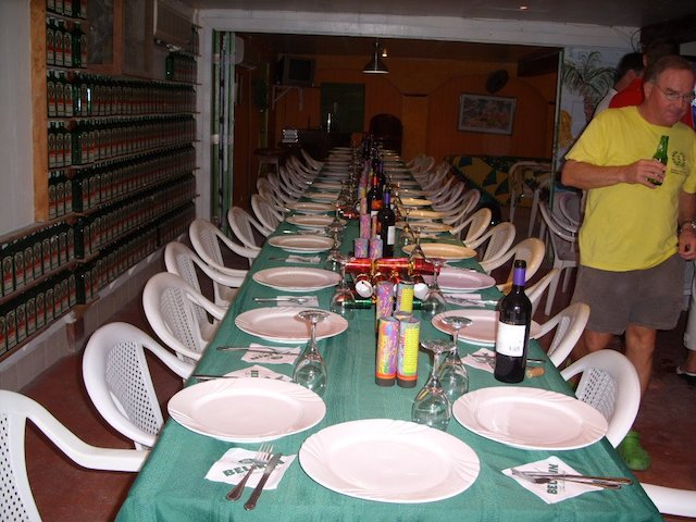 Christmas dinner table set up at Pedro's