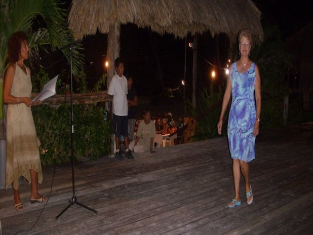 Jan Brown modelling for Caribe Creations