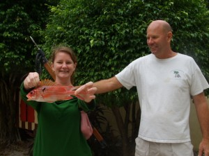 Erin and Jack with her first fish caught by spear