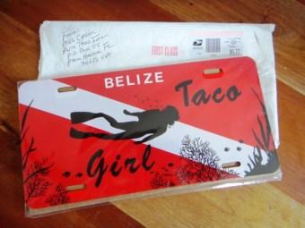 tacogirl Belize custom license plate