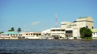 view from San Pedro Belize Express Belize City Water Taxi terminal