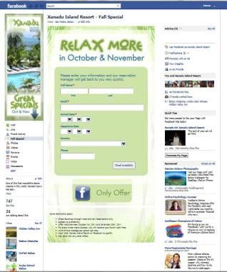 Xanadu Island Resort customized landing page on facebook