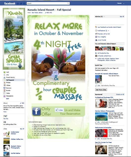 Xanadu Island Resort Fall Special on facebook