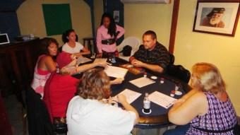 female poker player