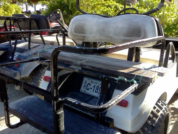 golf cart at catamaran beach bar san pedro belize