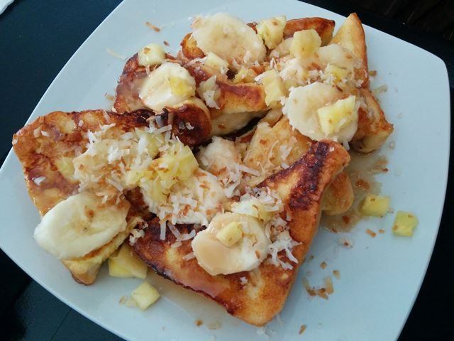 coconut french toast from mesa cafe vilma linda plaza san pedro
