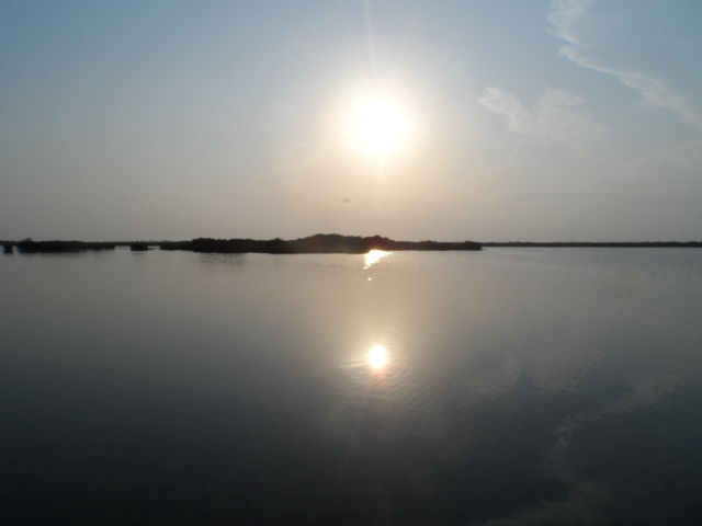 Belize sunset on the lagoon
