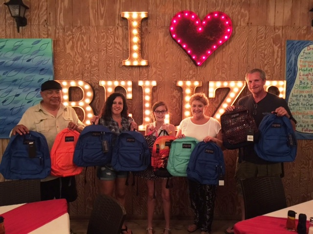 Collecting back packs for Belize Kids at Blue Water Grill