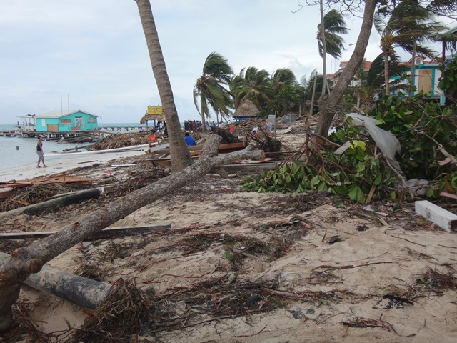 Afrermath on the beach from Hurricane Earl