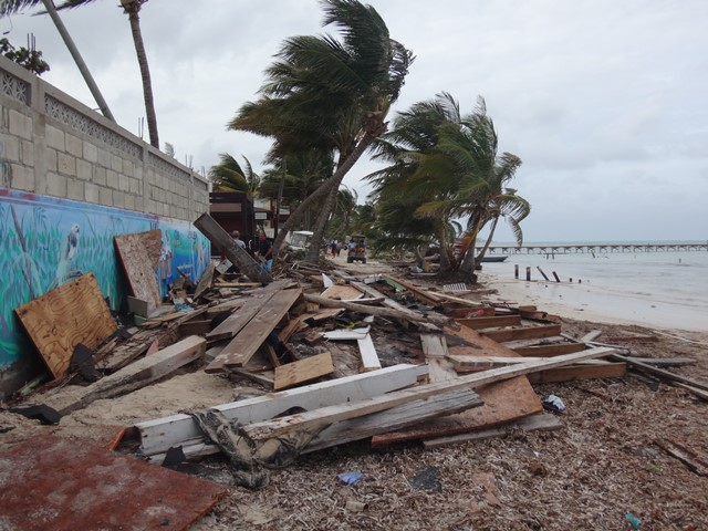 Lots of beach clean up needed due to Hurricane