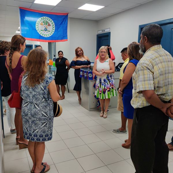 Dr Renae Sersland touring a group at the new Belize Medical Associates Ambergris Caye
