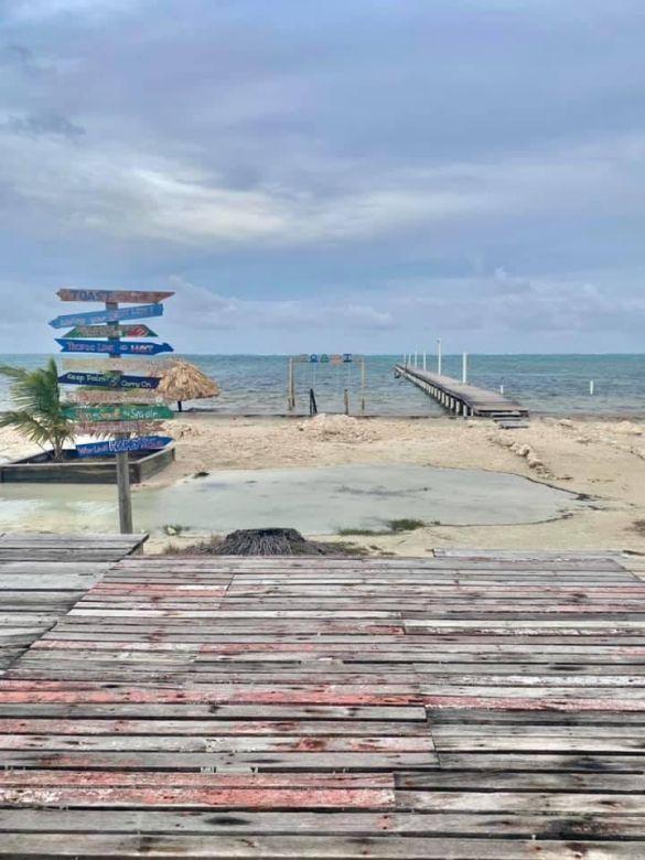 beach bar view ambergris caye