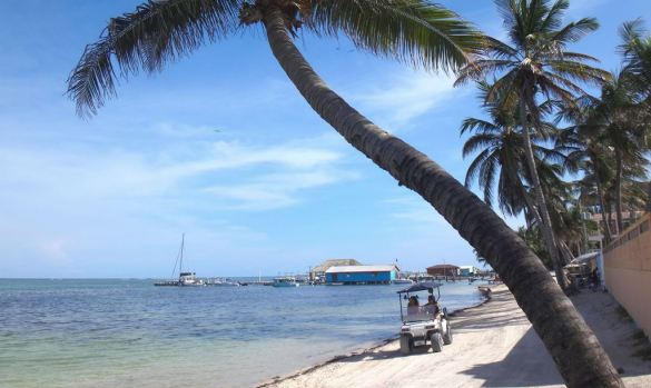 caribbean-sea-golf-cart-beach-san-pedro-belize